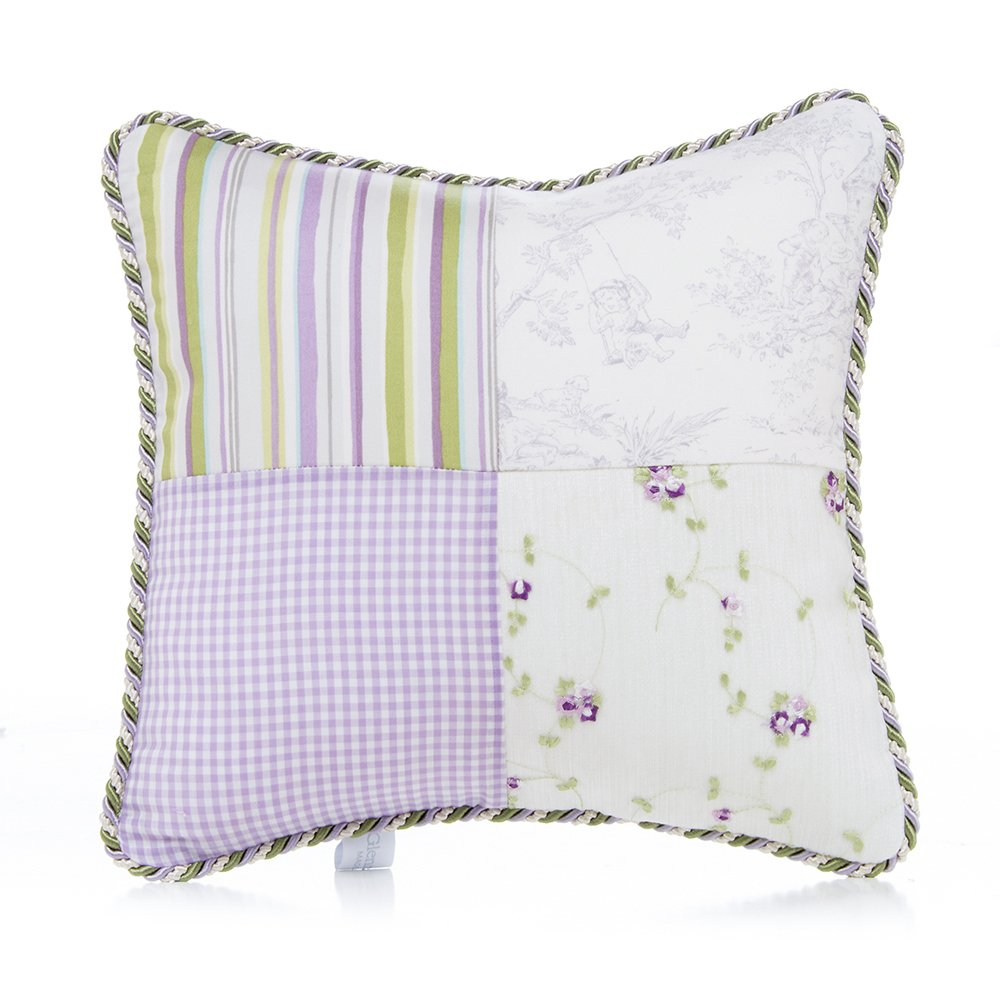 Glenna Jean Penelope Patch Pillow, Lavender/Mint/White