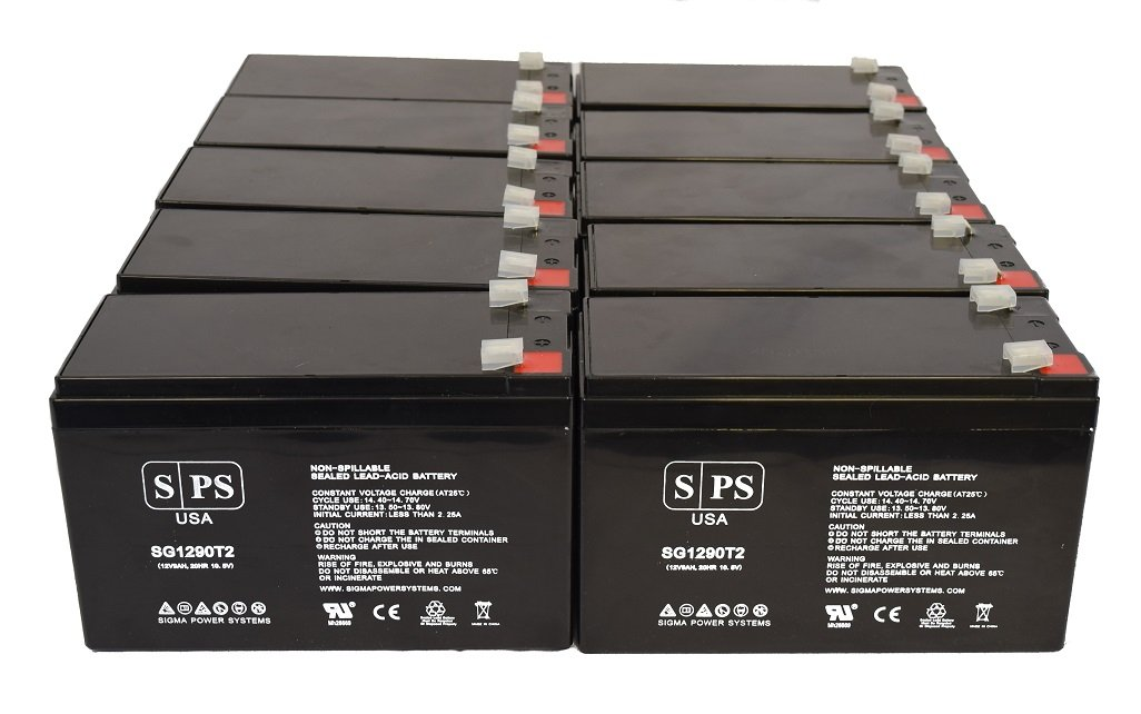 Powerware PW5115 1400i USB 12V 9Ah UPS Replacement Battery (10 Pack)