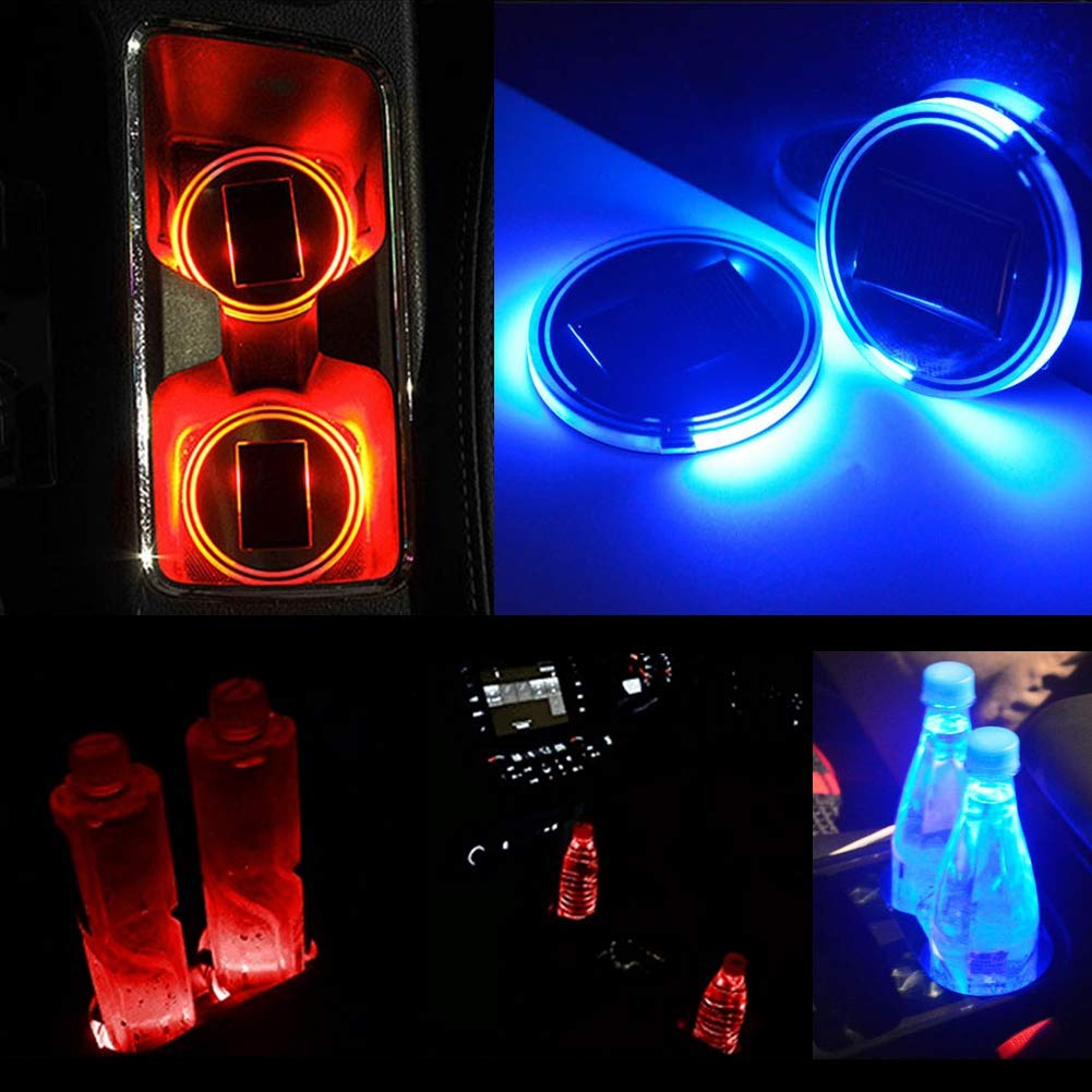 Neufday 2pcs Solar LED Cup Pad Holder RGB 7 Colores Luces USB Car Bottle Bottom
