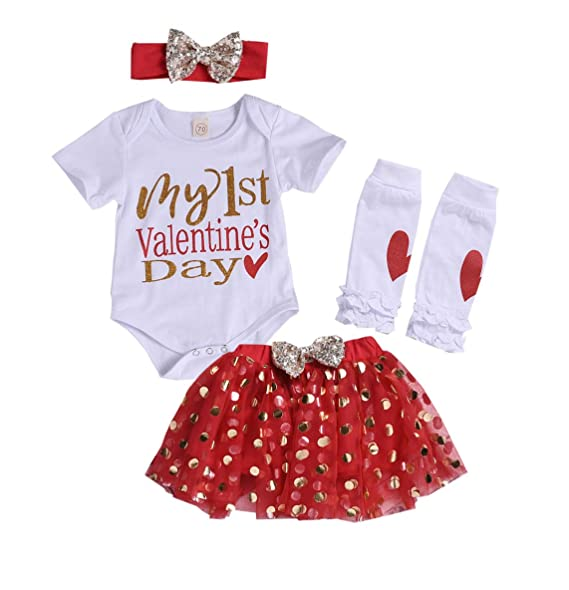 e0715e2d5985 Baby Girl My First Valentine s Day Romper Bodysuits Sparkle Dots Tutu Skirt  Leg Warmers with Headband