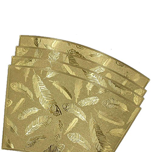 (ELDETU Premium PVC Sector Placemat Feather Printing Series Waterproof Placemat Washable Table Mats Easy to Clean for Dining Room Kitchen Outdoor Restaurants Hotel Office Set of 4,Gold)