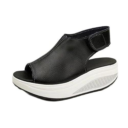 Cinnamou Sandalias con Plataforma para Mujer, Velcro Cierre Sandalias de Tacón Cuña Mujeres Verano Zapatillas De Playa Moda Plataforma Antideslizante: ...
