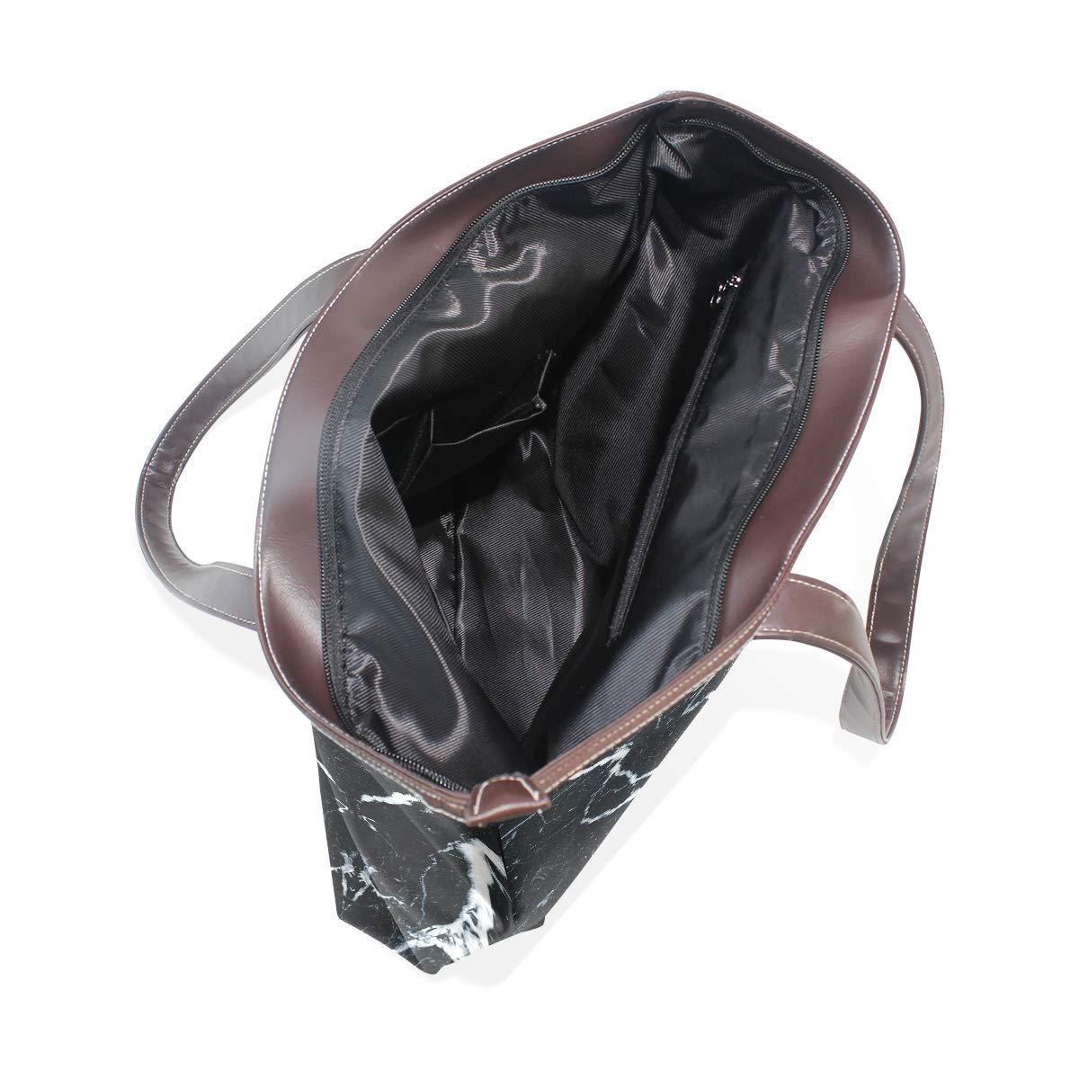 Black White Marble DesignWomens Vintage Leather Tote Urban Style Satchel Tote