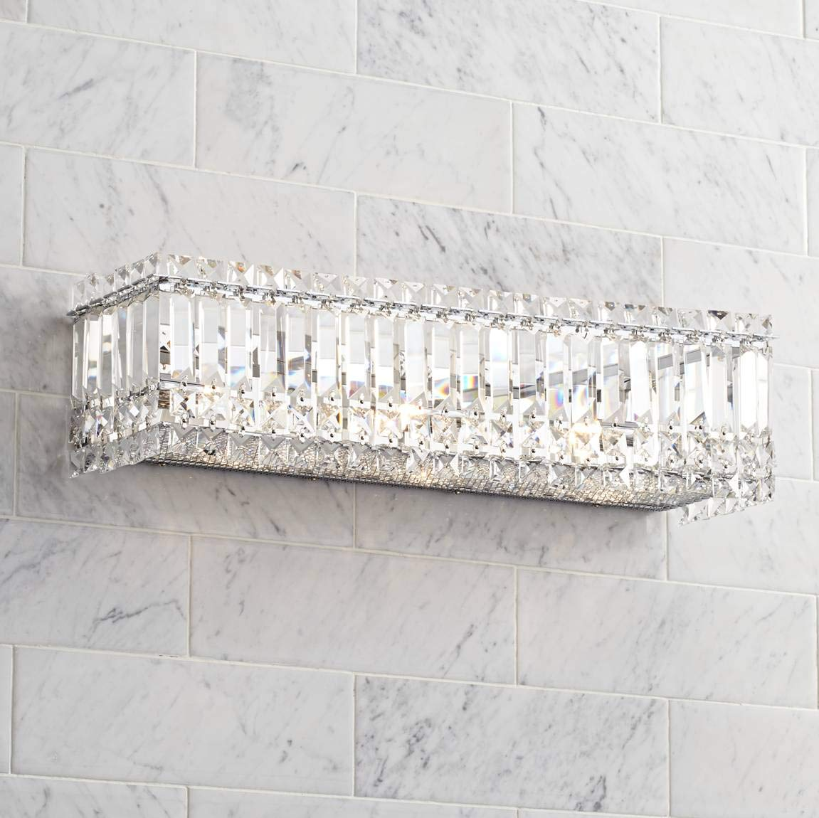 Modern Wall Light Cut Crystal Columns 23'' Vanity Fixture for Bathroom Over Mirror - Possini Euro Design
