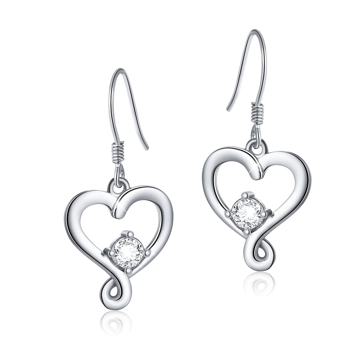 925 Sterling Silver Jewelry''I Love You To The Moon and Back'' Love Heart Dangle Drop Earrings