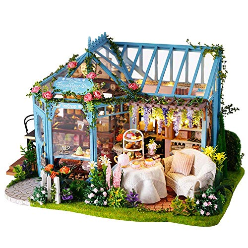 - Tawcal DIY Wooden Dollhouse Kit, Miniature Handmade Dolls House Mini Handcraft Garden, Cake, Coffee Shop, Tea House, Craft Toys with LED Light Music