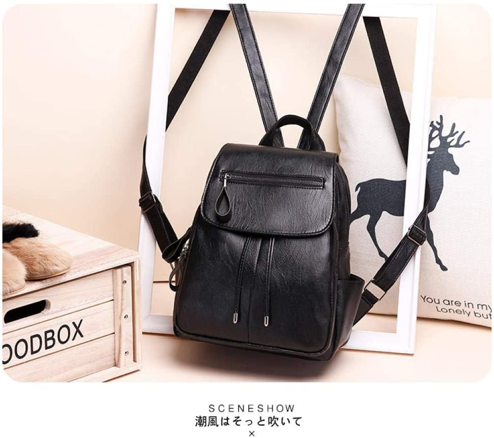 KEROUSIDEN Shoulder Handbags Fashion Wild Casual Pu Soft Leather Student Bag Waterproof Travel Backpack