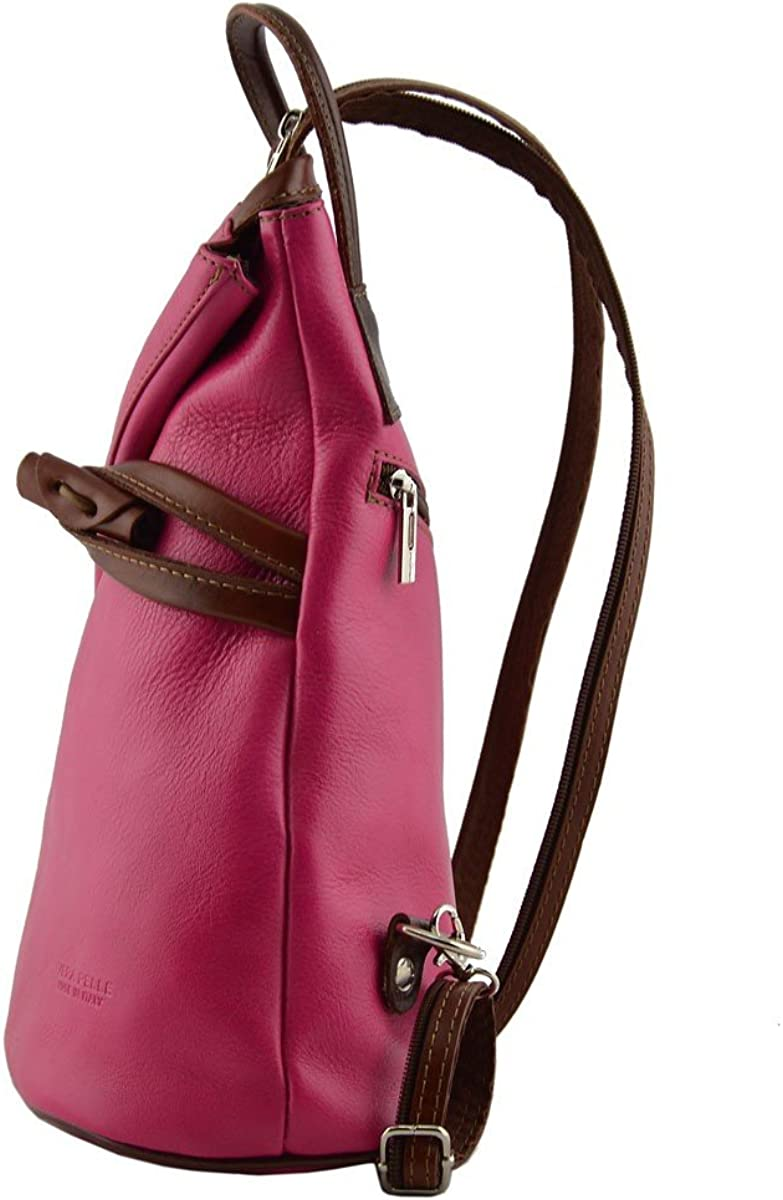 Leather Backpack for Women with Zipped Straps Color Fuchsia//Brown