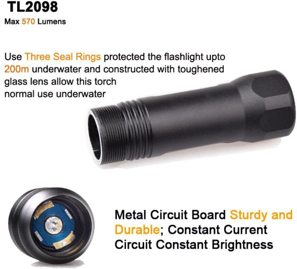 Torch+Lanyard+Tube TONELIFE TL3218 1000lumens Dive Light Scuba Diving Torch Led Flashlight with Waterproof 492ft Cree Xml2 U2 Rotary Switch Use C Dry or 18650//26650 Li-ion Batteries
