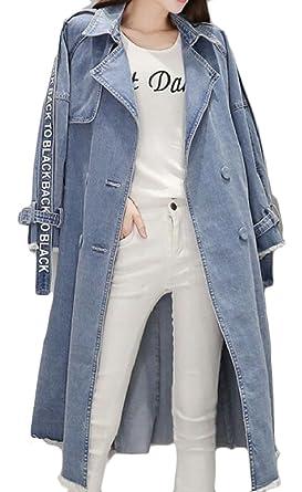 ca924616a4f8e Yayu Women Fashion Lapel Long Loose Maxi Distressed Denim Trench Jacket Coat  Casual Plus Size Coat