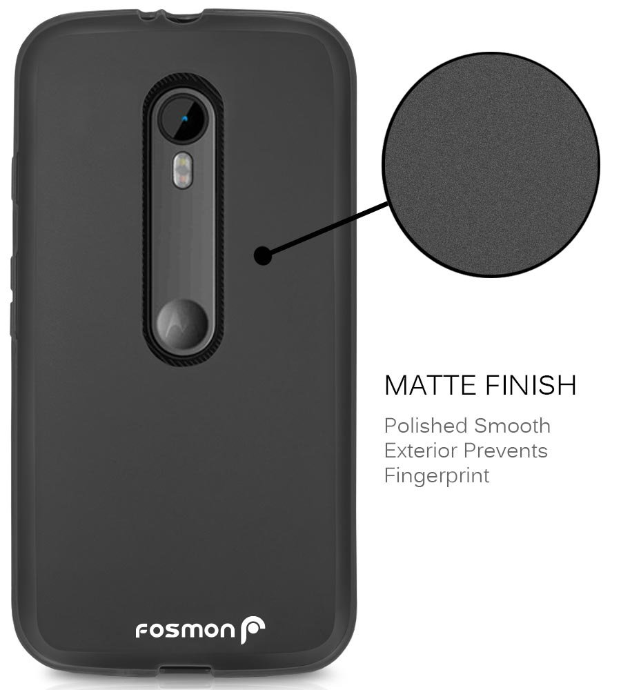 Moto G (3rd Gen, 2015) Case - Fosmon DURA-FROST Series Flexible TPU Case for Motorola Moto G 3rd Generation (Black)