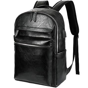shop online shop top brands VBIGER Sac a Dos Homme Cuir Sac a Dos Ordinateur Portable 15,6 Pouces  Voyage Affaire avec USB Port (Noir2)