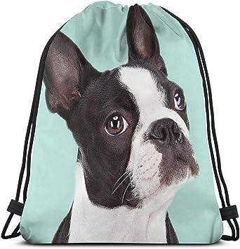 Boston Terrier Drawstring Bag for Girls Gym Sack Bag Drawstring Backpack Sport Bag for Men /& Women School Travel Backpack