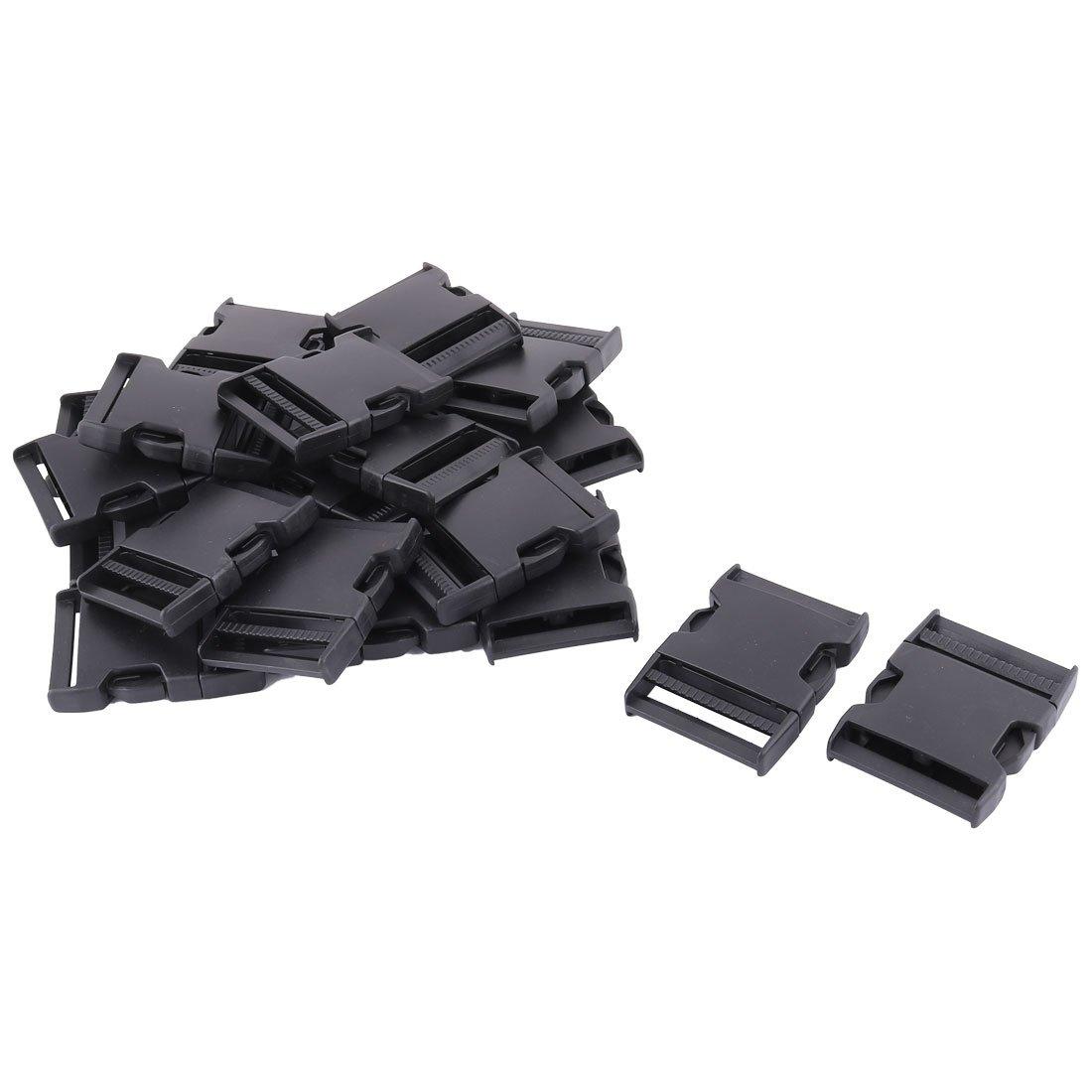uxcell Luggage Bag Backpack Safety Strap Adjustable Side Release Buckles 3 Inch Long 20pcs Black