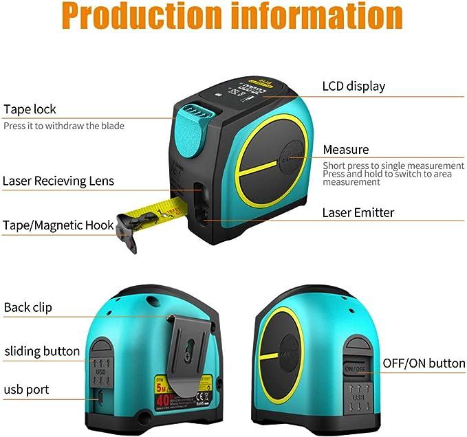 40M Mileseey M/ètre Ruban Laser pieds avec batterie rechargeable Grand /écran LCD