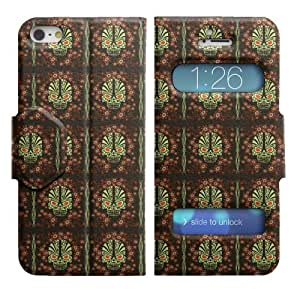 Dual Open Windows Caller ID View Leather Flip Case Stand Cover For Apple iPhone 5 / 5S (#2160)