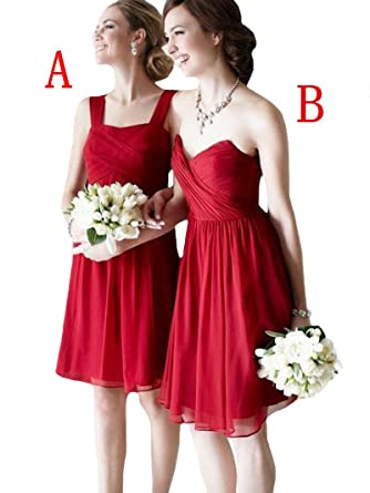 VinBridal Cheaper Red Short Chiffon Bridesmaid Dresses Prom Gown at Amazon Womens Clothing store: