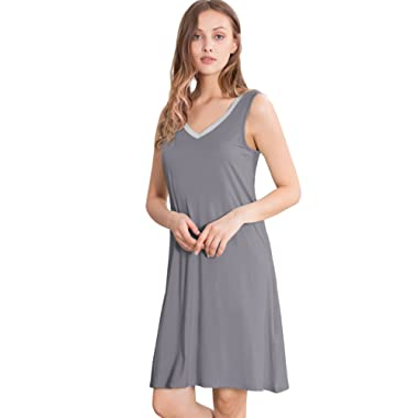 GYS Womens Bamboo Viscose Sleeveless V Neck Nightgown