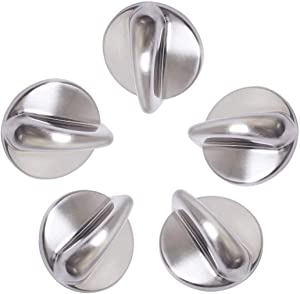 Toolsco 5PCS Reliable WB03K10303 Chrome Finish METAL Surface Burner Control Knob. Replacement Part Fits for GE Ranges and Replaces WB03K10303, AP4980246, 1810427