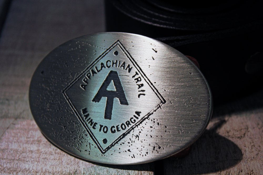Appalachian Trail Hiking Etched Metal Belt Buckle