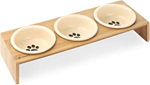 Navaris Ceramic Cat Bowls with Stand - Raised Food and Water Bowl Set for Cats on Elevated Wooden Riser - Eco-Friendly Cat and Paw Design - 3 Bowls