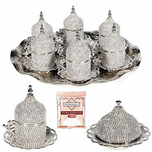 27 Pc Turkish Coffee Cup Set Saucers Holders Spoons Decorated with Swarovski (Decorated Coffee Spoons)