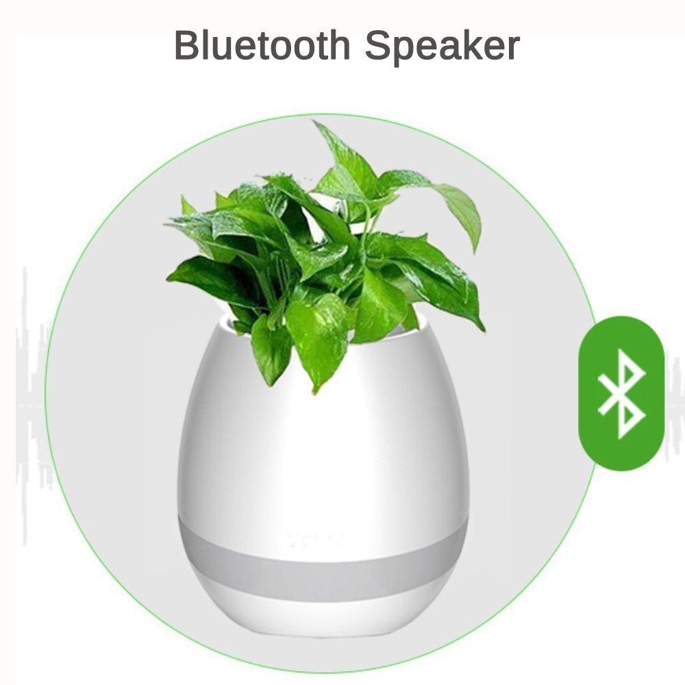 Smart Music Flower-Pot Planter, Wireless Bluetooth Speaker,Round Decorative Muti-Color LED Night Lights,vase for Office Home Decor (White)