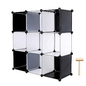 C&AHOME Cube Storage Organizer,9 Cubes Bookcase Organizer, DIY Plastic Closet Cabinet, for Books, Toys, Shoes, Arts, White Cross
