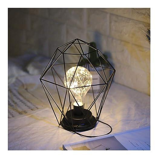 Lámpara de Mesa En Forma de Diamante sostenedor del Metal Abrir la ...