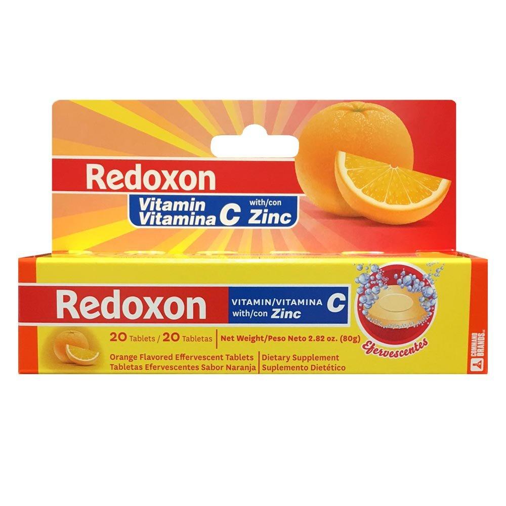 Redoxon Vitamin C With Zinc orange flavored Effervescent tablets 20 Ea 2.82 Oz (Pack of 11)