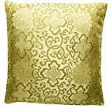 EXP Decorative Handmade Silky Cushion Cover/Pillow Sham, Gold Chinese Lotus Flower Design