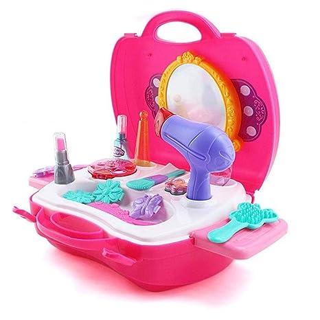 YeahiBaby 21 unids Juego de imaginación Juguete de Maquillaje secador de Pelo Conjunto Princesa cosmética Maleta