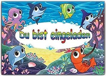 Einladungskarten Kindergeburtstag Motiv: Fische Die Unterwasser Im Meer  Schwimmen   8 Stück Set Fisch Schwimmbad