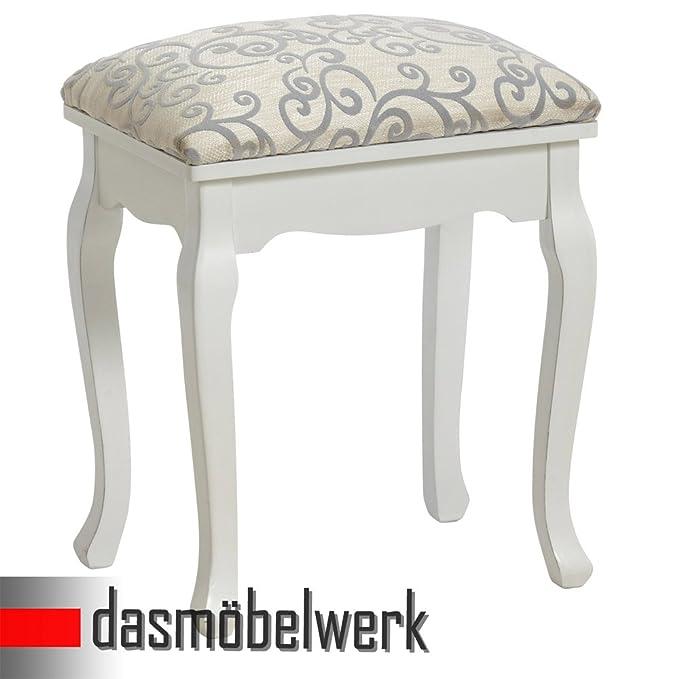 Hocker für Schminktisch Polsterhocker florales Stoffmuster Holz weiß Sitzhocker