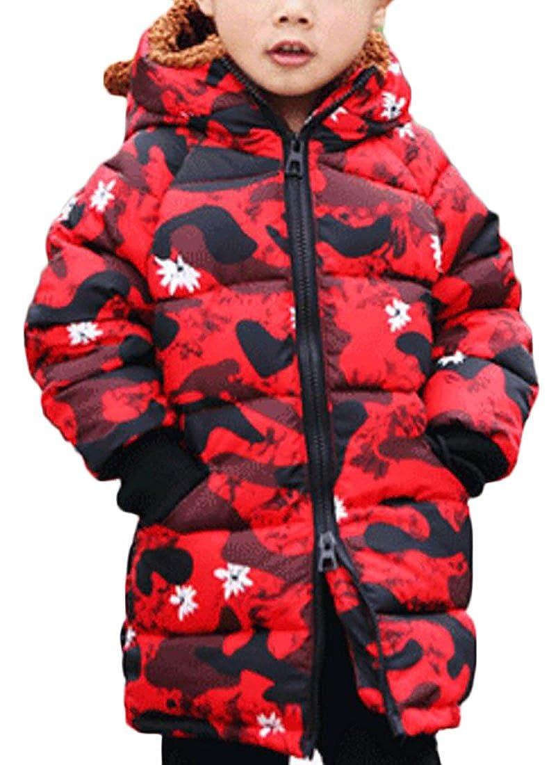 Jaycargogo Children's Long Sleeve Hooded Boys Camouflage Down Jacket