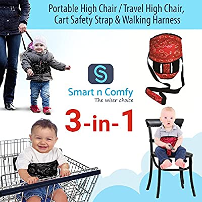 Smart N Comfy 3-in-1 Travel High Chair + Portable High Chair + Toddler Safety Harness + Shopping Cart Safety Strap