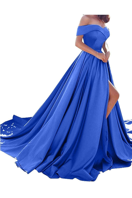 bluee 20KyleBird Sexy Off Shoulder Satin Prom Evening Dress ALine Strapless Split Party Gowns for Women Formal KB023