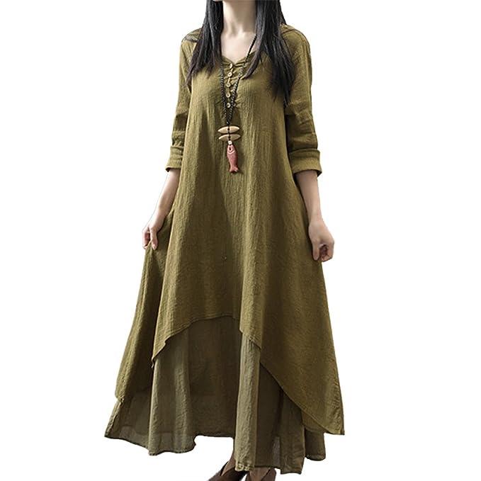 7a696e88c0 Women s Irregular Layers Cotton Linen Loose Hem Long Kaftan Boho Dress Maxi  Dresses Green