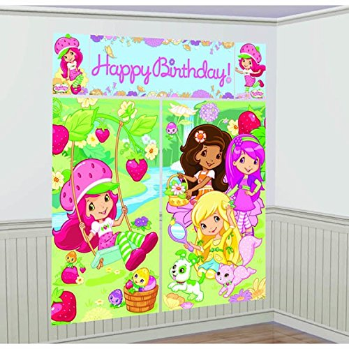 amscan Delightful Strawberry Shortcake Birthday Party Scene Setters Decoration (5 Pack), 59