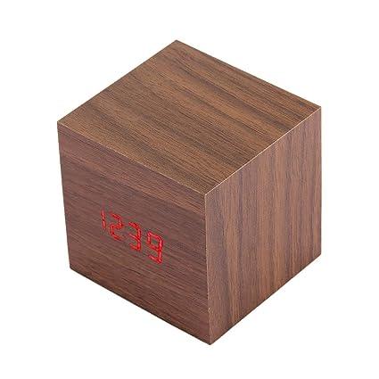 Reloj Reloj de madera Mesa de escritorio Reloj LED Pantalla digital Reloj despertador con hora, ...