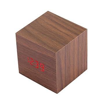 Reloj de madera de la mesa LED del escritorio Reloj digital con alarma y hora, fecha y temperatura reloj de pared: Amazon.es: Bricolaje y herramientas