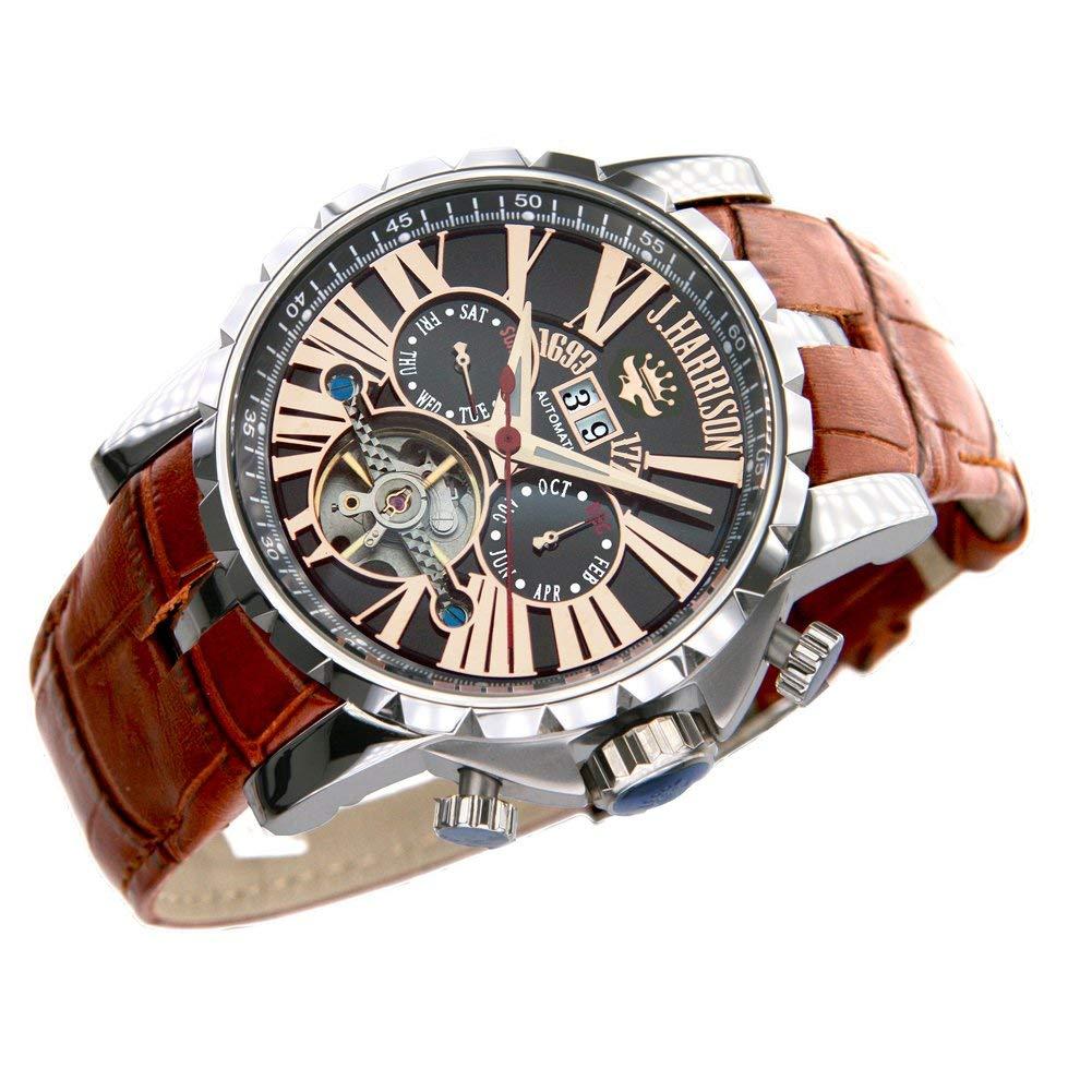 最強のパフォーマンス!機械式 時計 [ J.HARRISON ] 自動巻 スケルトン 牛革ベルト 腕時計 メンズ 紳士 誕生日プレゼント 360033PB B074XGKSYP