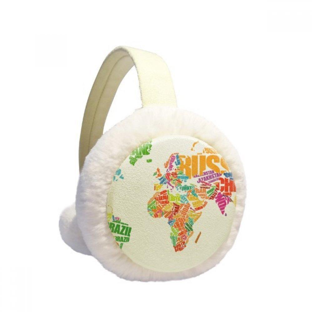Mutlicolour World Map Countries Name Winter Earmuffs Ear Warmers Faux Fur Foldable Plush Outdoor Gift