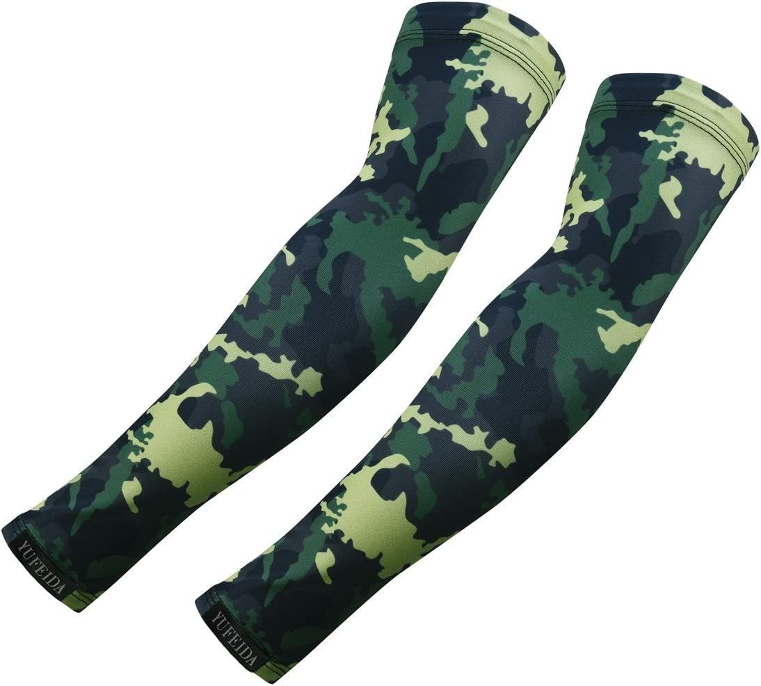 YUFEIDA Arm Sleeves UV Sun Protection Cooling Outdoor Sports Compression Sleeves Arm Warmer Cover Camouflage 1 Pair