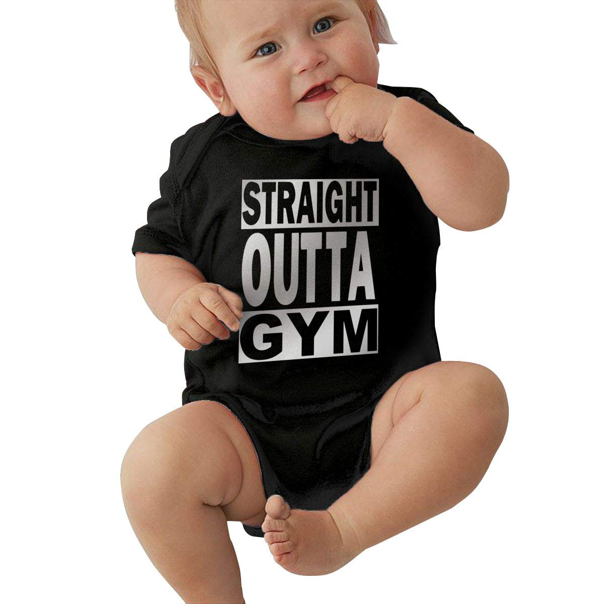Newborn Baby Girls Bodysuit Short-Sleeve Onesie Straight Outta Gym Print Outfit Spring Pajamas