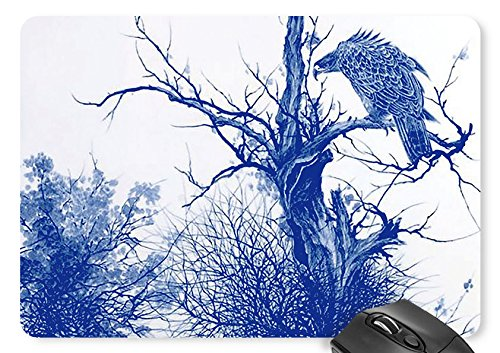 Duh Series - Mouse Mat Blue and White Porcelain Series The Eagle Stood on the Dry Branch Print Mousepad