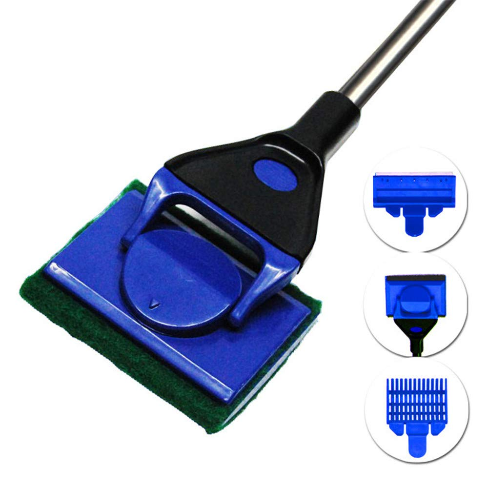 ZNN Aquarium Cleaner - 4 in 1 Multi-Purpose Fish Tank Cleaning Kit with Gravel Crucible, Scraper and Sponge, Strong Cleaning Power, Suitable for Fish Tank