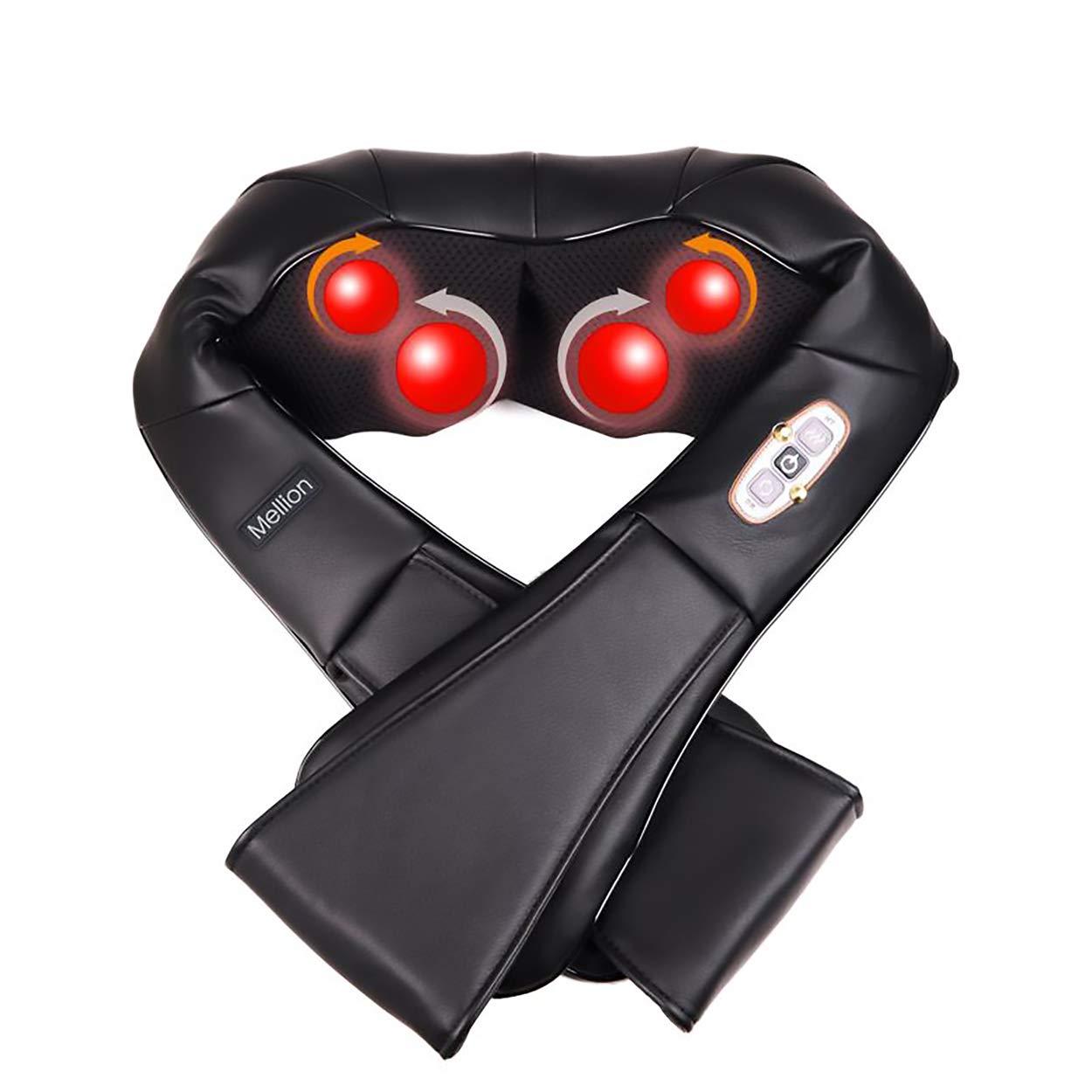 Mellion Back Shoulder Neck Massager with Heat Deep Tissue Kneading Shiatsu  Massager for Neck Back Pain