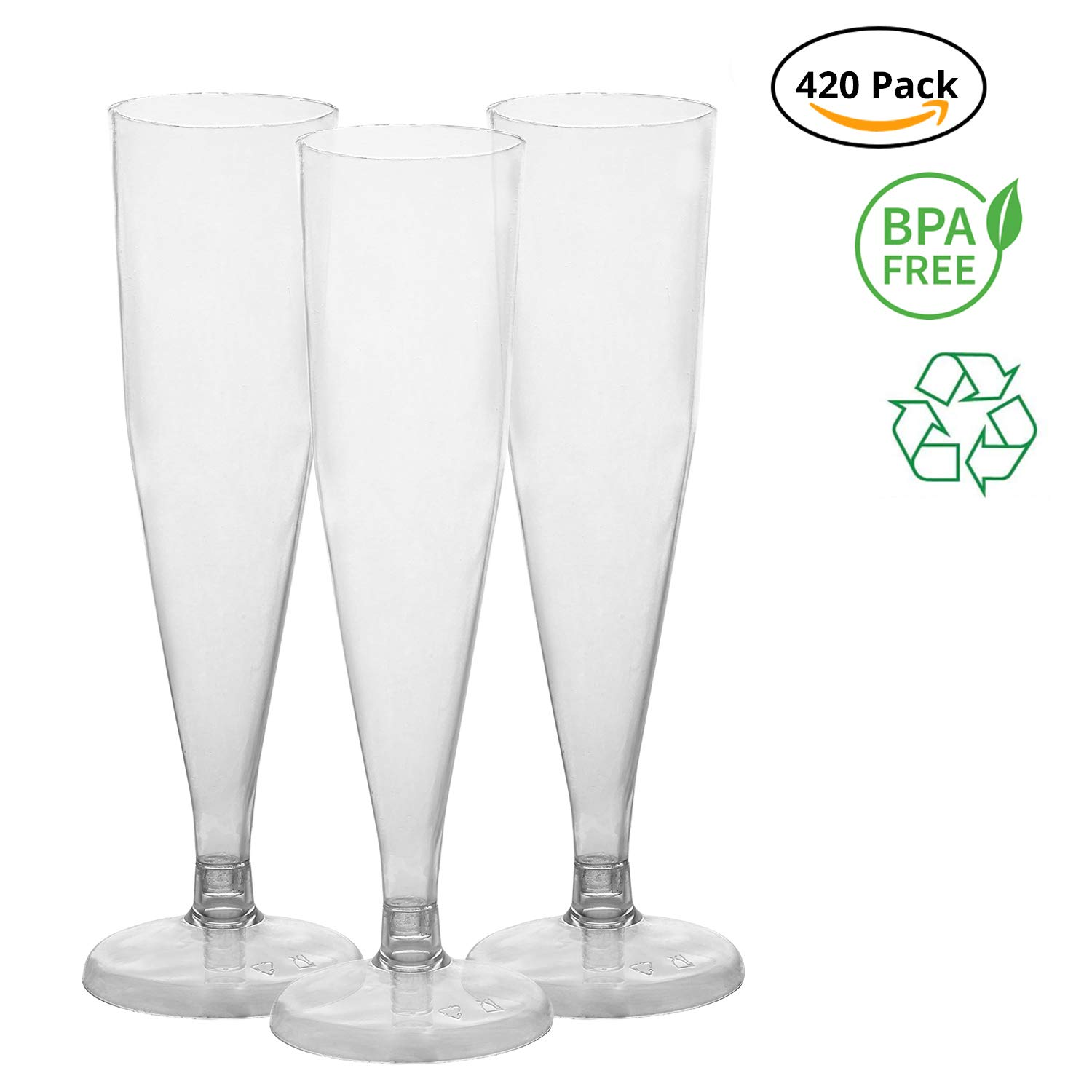 Party Joy [420 Ct] Plastic 6-oz Champagne Flutes (Pack of 420) | BPA Free-Flutes| Heavy Duty Premium Plastic Champagne Flutes for Wedding, Parties & More by TTG