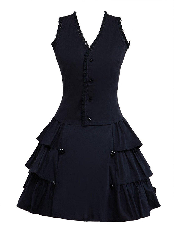 Cemavin Baumwolle Schwarze Knöpfe Verstimmen Lolita Outfits B075DDK9S4 Kostüme für Erwachsene Neues Design   Geeignet für Farbe